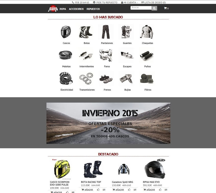 Motorbike accessories mobile friendly online shop